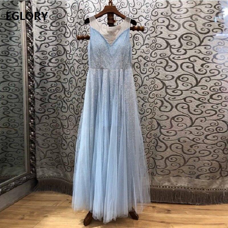 Top Grade nouveau 2019 printemps été longue soirée Maxi robe femmes Sexy pure maille Patchwork Allover pailleté bleu longue robe tapis