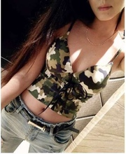 2017 Cute Bustier Crop Top Women Fittness Tank Top Tight Sexy Halter Top Cropped Bandage Camis Camouflage Dill Women Tops camis
