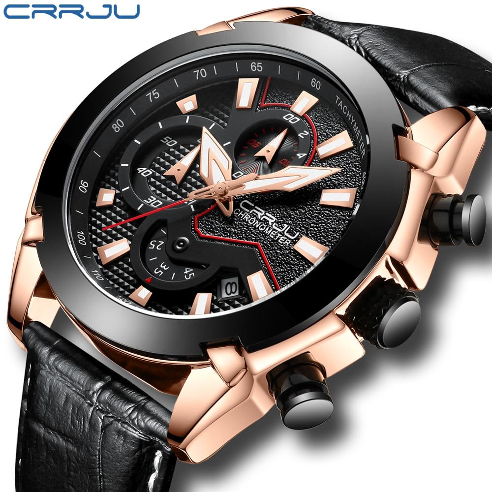 CRRJU Hommes de Chronographe Analogique Quartz Montre avec Date, De Luxe Lumineux Mains, étanche Bracelet En Cuir Robe Wristswatch pour Homme