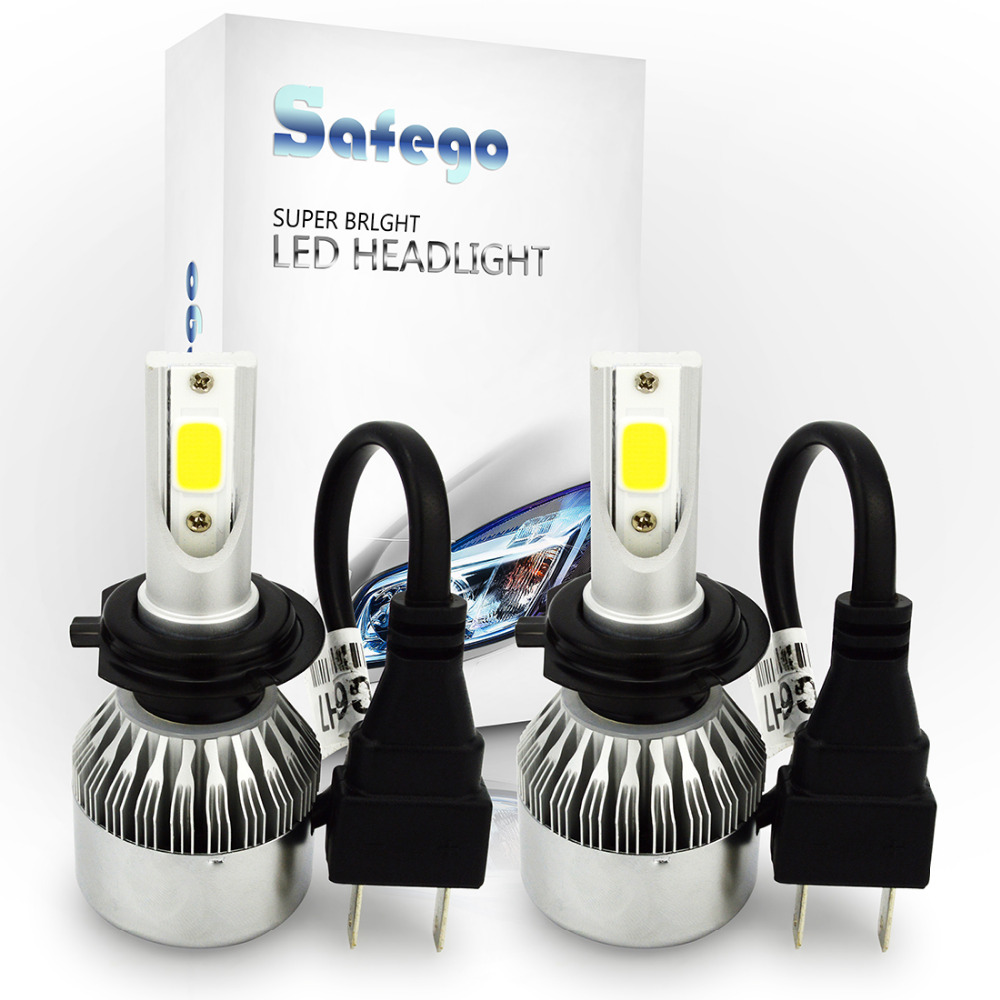 Safego 1 set H7 72 w COB LED Phare De Voiture Ampoules 7600LM Projecteur LED Phare POUR Universel De Voiture LED Phare Brouillard Ampoules 12 v
