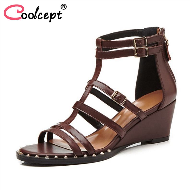 Coolcept Women High Heel Sandals Real Leather Zipper Open Toe Women Summer Shoes Gladiator Vintage Sandals Footwear Size 34-39 coolcept size 33 43 women real leather high heel sandals open toe ankle strap rivets summer shoes woman party club sandal
