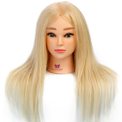 100% Real Hair 22'' Hair Salon Models Made Wigs Female Mannequin Head Display Training Head For Hairdressers + Table Clamp