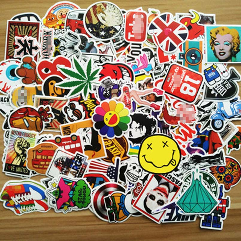 100pcs Personality Graffiti Laptop Stickers Kids DIY Cute Toy Stickers Cars Luggage Skateboard Vinyl Decals Sun Protection