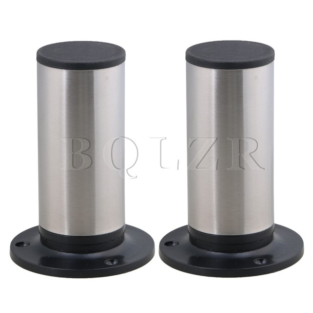 BQLZR 4PCS 120x85mm Round Silver Black Adjustable Stainless Steel Plastic Furniture Legs Sofa Bed Cupboard Cabinet Table Feet
