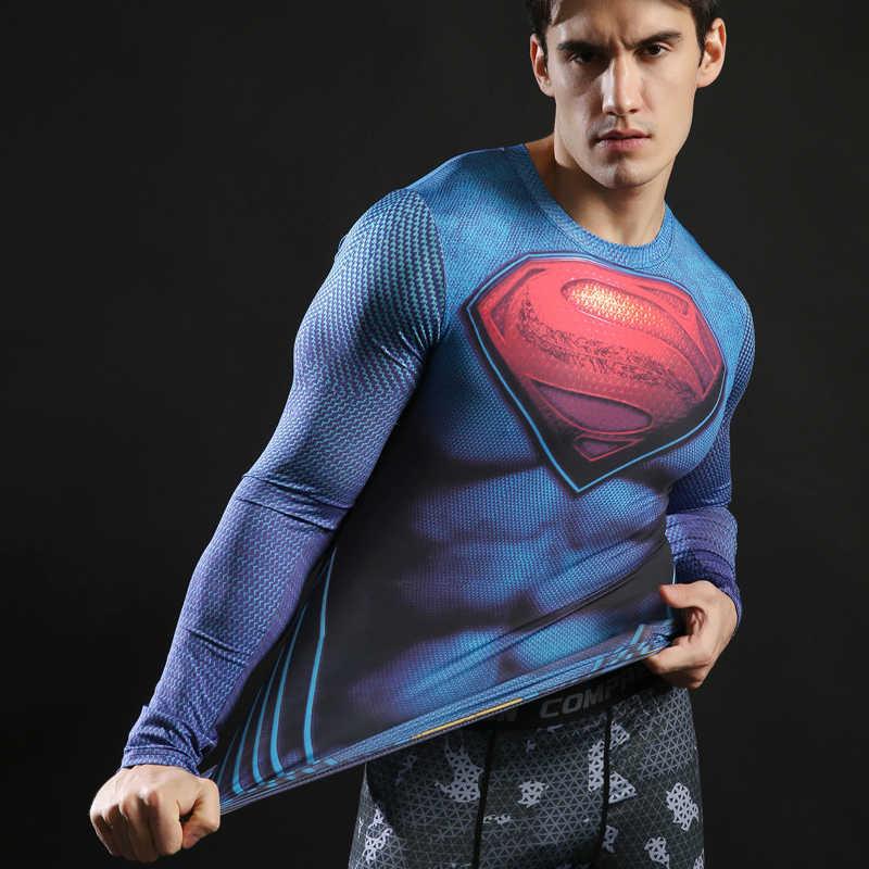 압축 t 셔츠 긴 소매 휘트니스 탑 슈퍼맨 프린트 티셔츠 슈퍼 히어로 티즈 보디 빌딩 티즈 2017 top zootop bear