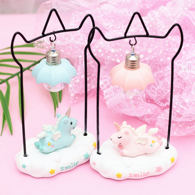Cartoon Unicorn Resin LED Night Light Girls Room Decoration Lamp Bedside Lamp For Baby Kids Christmas New Year Birthday Gift (2)