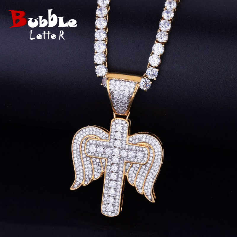 Iced Religious Cross with Wings Necklace & Pendant Chain Charm Gold Silver Cubic Zircon Men's Hip hop Jewelry For Gift