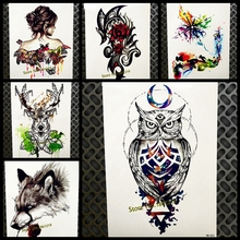 Hot WaterColor Purple Owl Temporary Tattoo Stickers Henna 21x15CM Women Flash Waterproof Tattoo Body Art ARm Fake Tatoo Men
