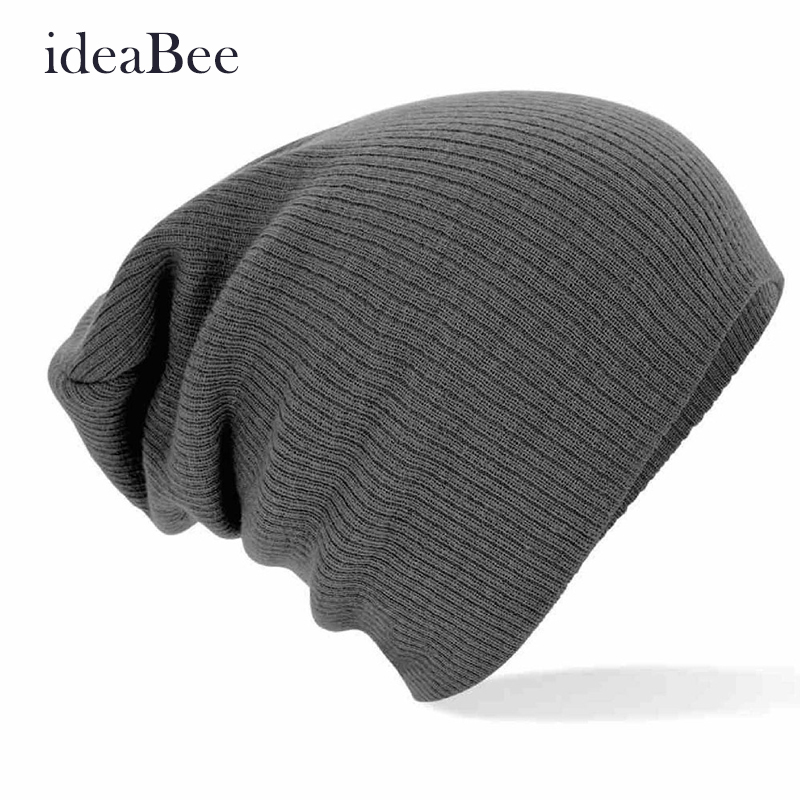 ideaBee Skull Knit Cap Hats Knitted Touca Gorro Caps Men Women New Winter Beanies Solid Color Hat Unisex Plain Warm Soft Beanie 5pcs new winter beanies solid color hat unisex warm soft beanie knit cap winter hats knitted touca gorro caps for men women