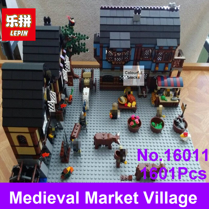 New 1601Pcs Lepin 16011 Castle Series Medieval Market Village Castle Model Building Kits Blocks Bricks Kid Toys Compatible 10193 new lp2k series contactor lp2k06015 lp2k06015md lp2 k06015md 220v dc