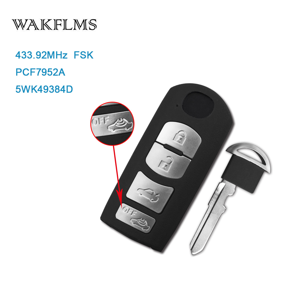 4 Button Smart Remote Car Key 433Mhz For Mazda 6 Saloon Sedan Sport 2008 2011 with