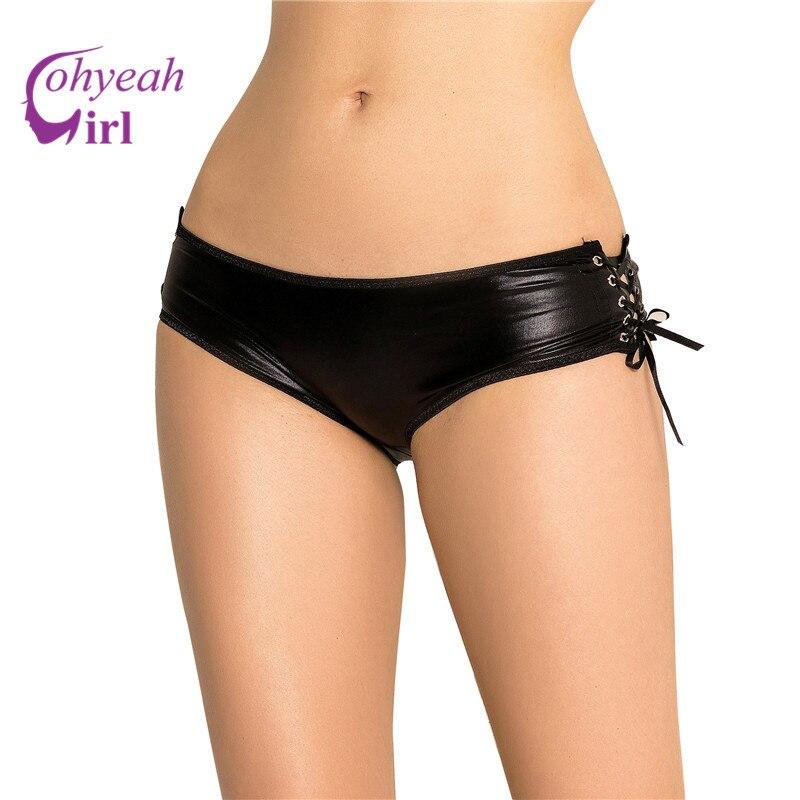 PW5125 Plus Velikost Umělá kůže Otevřená spodní kalhotky Ženy Sexy kalhotky Tanga Spodní prádlo Vysoce kvalitní pevné černé spodní prádlo Ženy