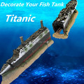 Fish Tank Aquarium Decoration Mini Titanic Wooden Boat Aquarium Accessories Ornament Pirate Ship Resin Big Size 38.5*6*9cm
