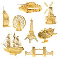 Cute 3D DIY Metal Puzzle Models, Gold Holland Windmill Orignal Design Jigsaw 3D Puzzle, Educational Puzzle 3D Model, Kids Toys