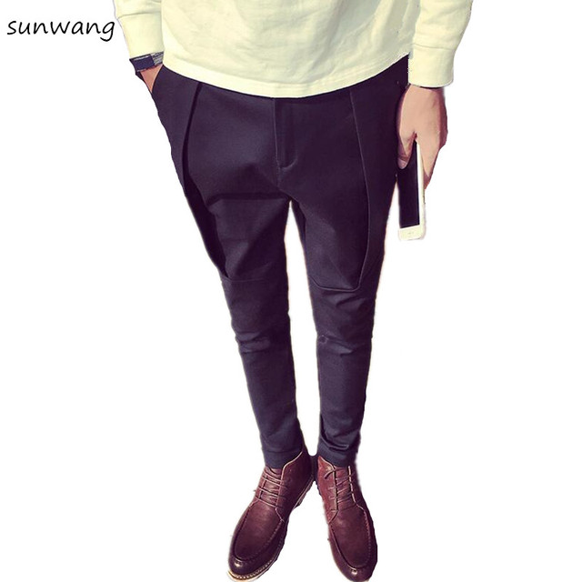 Sunwang Marka Kore Ekose Erkek Siyah Kargo Pantolon Rahat Moda Erkek Slim Fit Elbise Erkek koşucu pantolonu Tulum Gezegen Giyim