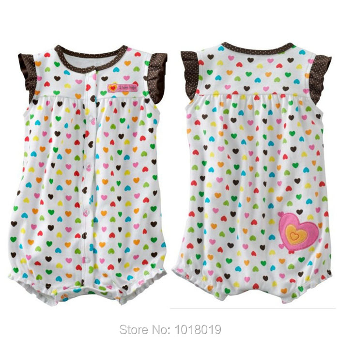 Branded 100% Cotton Summer Ropa Bebe Girls Newborn Baby Girls Clothing Clothes Creepers Jumpsuits Baby Girls Romper Short Sleeve