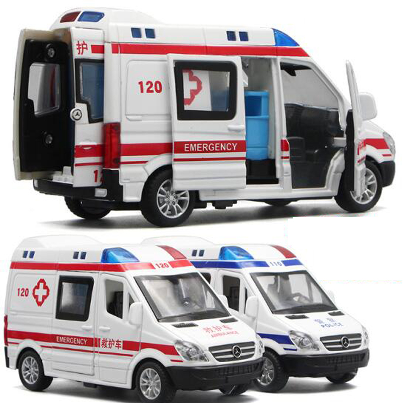 1:32 Hospital Rescue Ambulance Police Metal Cars Model Pull Back Sound And Light Alloy Diecast Car Toys Gifts Free Shipping