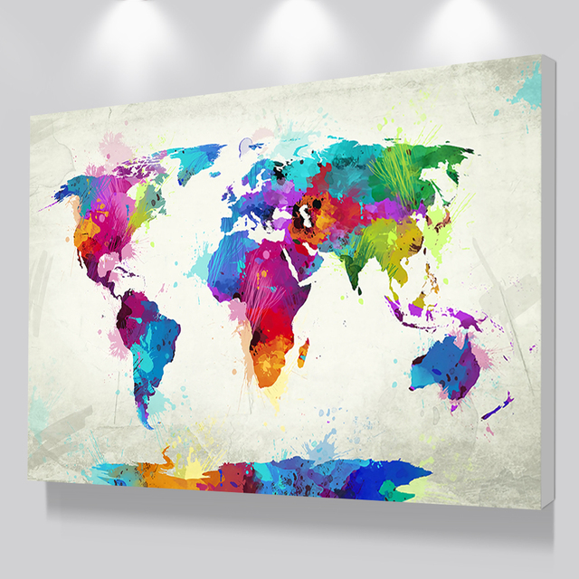 Colorful World Map Canvas Painting