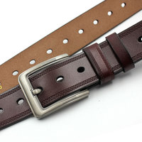 Brand New Fashion Leather Belt Men High Quality Designer Belts Women Double Needle Buckle Soft Waist