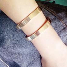 2016 simple geometrical times feeling Punk rock fashion female bracelet jewelry High quality metal black bracelet EE881