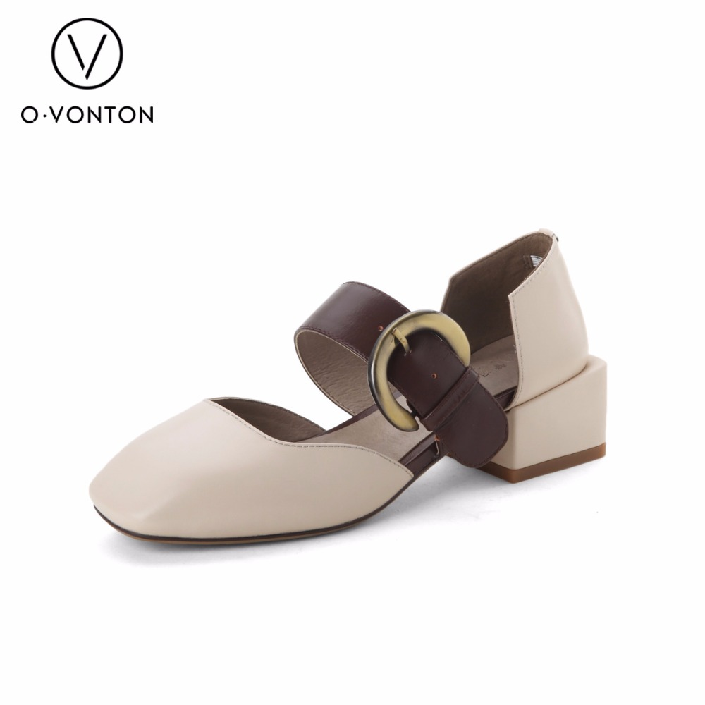 Q.VONTON Genuine Leather Shoes Square Toe Pumps Mary Jane Shoes Women shoes Wide Bukle Strap Middle Heels Fashion Office Lady