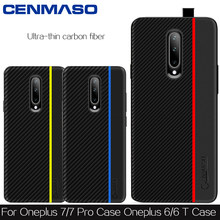 Oneplus 7 Pro Case Original Cenmaso Ultra Thin Fiber Leather Silicon Soft Edge Shockproof Cover Oneplus 7 5 6 5T 6T Case Cover(China)