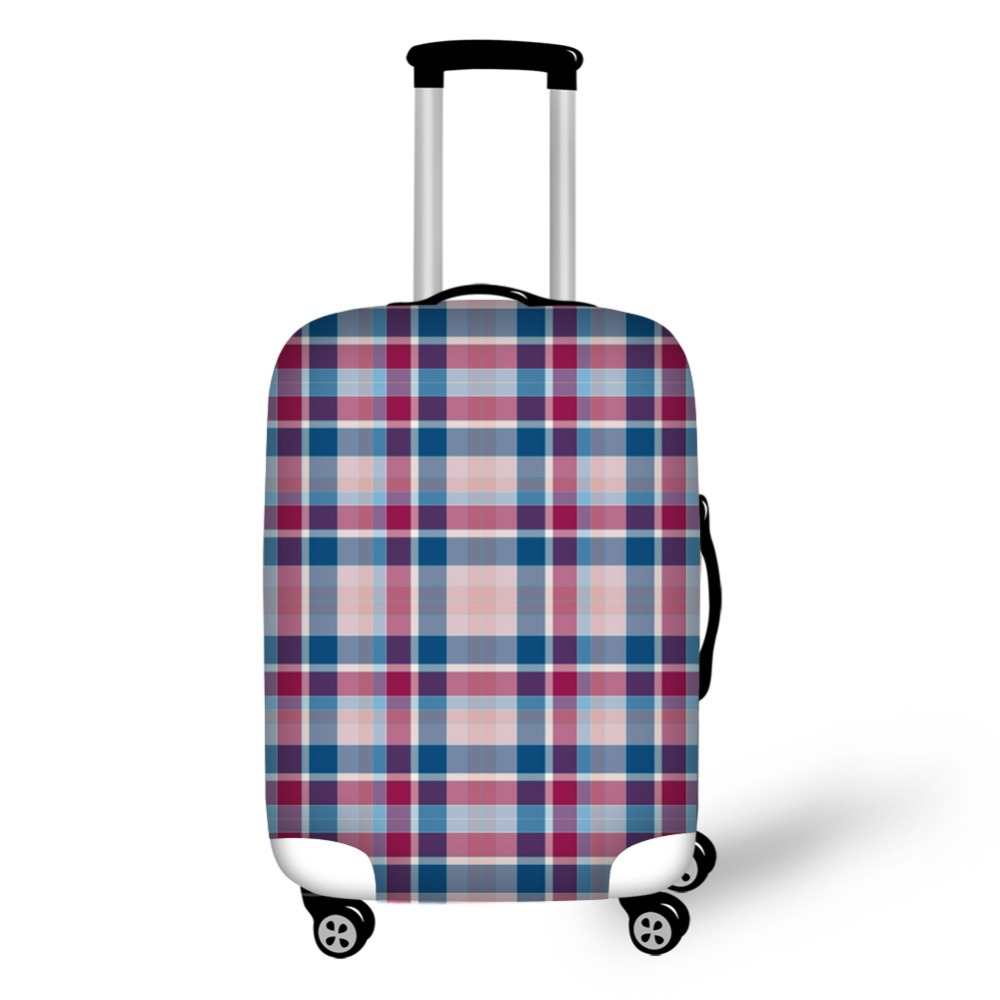 tartan design travel accessories suitcase protective covers 18-32 inch elastic luggage dust cover case stretchable Waterproof