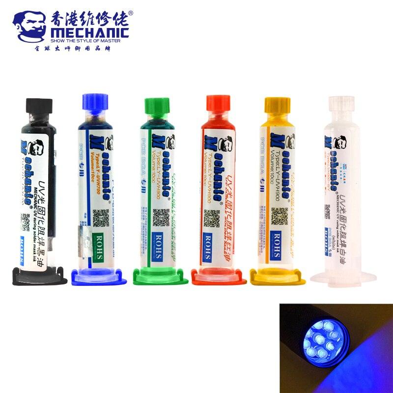 MECHANUC 6 pcs 6 couleur UV Curable Masque de Soudure + aiguilles + lampe UV Masque 10CC pour PCB Circuit conseil protéger À Souder Coller Flux huile