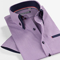 New 2014 Summer Brand Male Purple Double Collar Slim Fit Casual Plaid Short Sleeve Men Business Shirts Plus Size