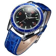 MG. ORKINA Bleu En Cuir Sangle Rotation Lunette Homme Montre-Bracelet Japon Mouvement Lumineux Mens Montres Auto Affichage de la Date Erkek Saat