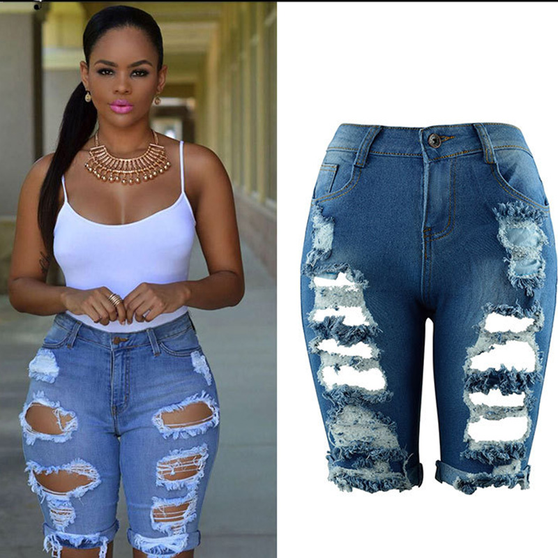 NORMOV Summer Jean Shorts Women Plus Size High Waist Casual Hole Skinny Ripped Shorts Women Shorts Female Long Shorts