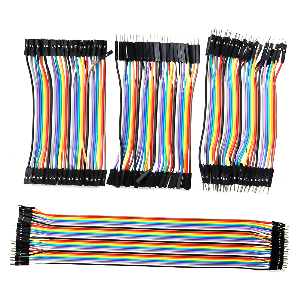 120Pcs/Lot Color Ribbon Male to Male+Female to Female+Male to Female Line Breadboard Dupont Cable Jump Jumper Wire Cable diy female to female dupont breadboard jumper wires black multi color 40 pcs 10cm