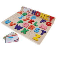 Wooden 26 Letters Puzzles Educational Toys Baby Learning Uppercase Alphabet Jigsaw Game for 1 Year Old Boy and Girl Gifts