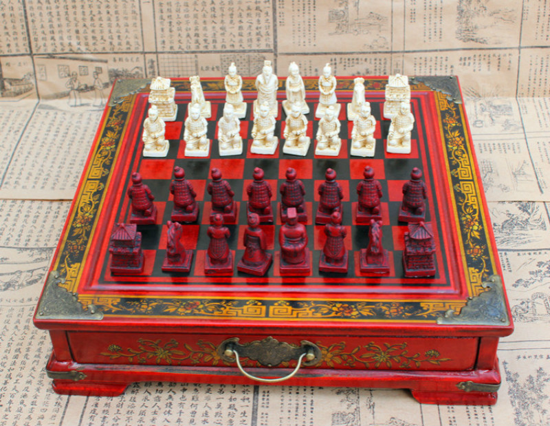 Chinese Terracotta Warriors 32 Chess Set & Leather Wood Box Flower Bird Table Chess Game Collectibles Vintage Free Shipping