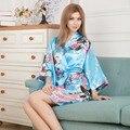 Plus Size Fashion Ladies Summer Mini Kimono Bath Robe Gown Light Blue Women's Rayon Sexy Yukata Nightgown Pijama Mujer Msf007