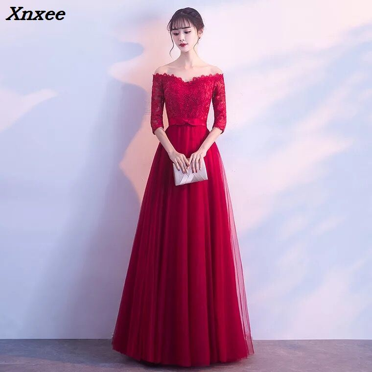 Vestidos 2018 Elegant Burgundy Lace Long Party Dress Off the Shoulder Prom Evening Gowns Vestidos Long
