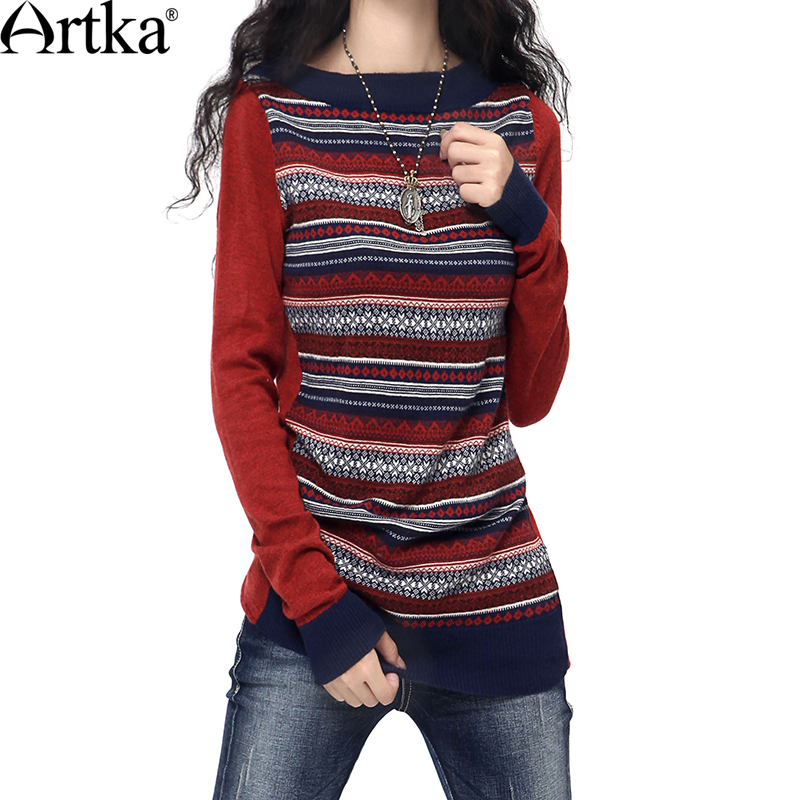 Artka Women S Autumn Vintage O Neck Full Sleeve Contrast Color Patchwork Striped Slim Waist Woolen