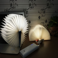 Colorful LED Rechargeable Folding Book Light Night Changeable Shape USB Operated Fixture Beautiful Table Lamp Lights