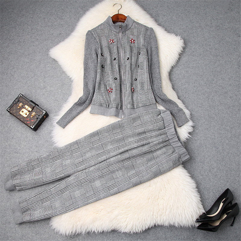 Top Quality Fashion Women's 2Pcs Tracksuit 2018 Autumn Winter Casual Outfits Knitted Patchwork Beadint Jacket and Pants Suit Set