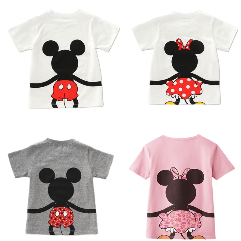 Mother And Daughter Clothes Boys Girls Cartoon Mouse Cotton Top Summer Short Sleeve Tshirts Family Matching Mickey Clothing E301