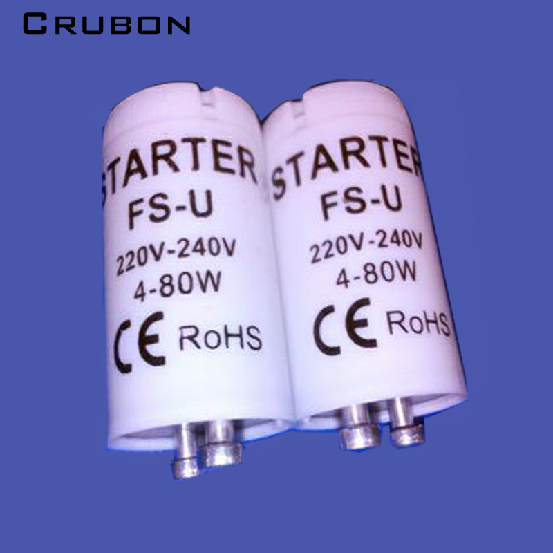 цена на CRUBON 10PCS/Lot high-quality special for AC220V-240V 4-80W fluorescent tube fuse starter CE Rohs fuse starters