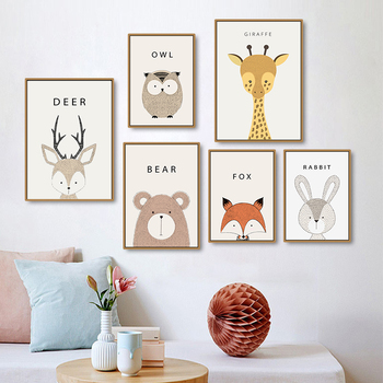 Nordic Style Animals Canvas - Nursery Decoration