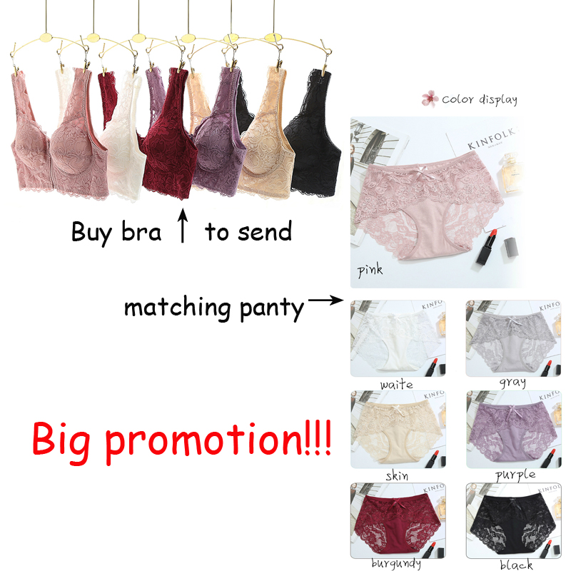 Buy Front zipper sexy lace top underwear lingerie female brassiere push bra panty set women plus size intimates lolita