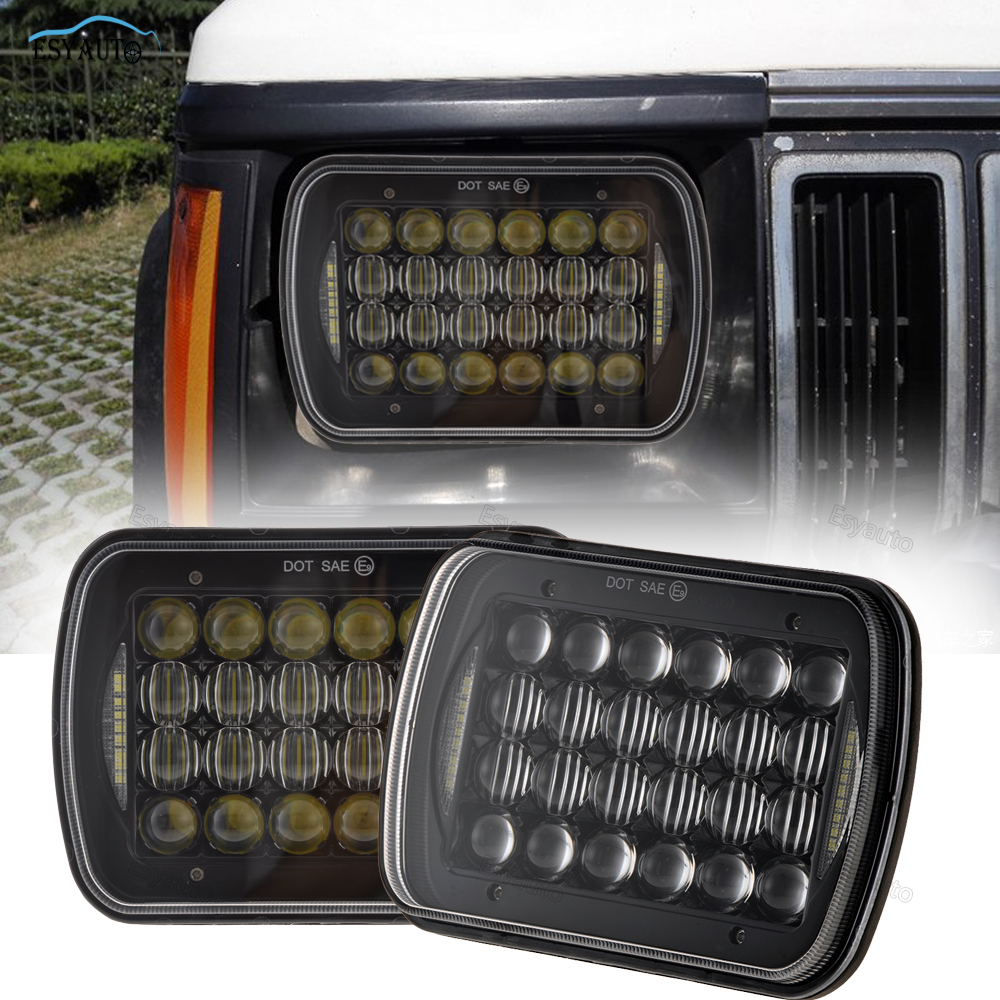 5x7 Rectangular Headlight Assembly Sealed Beam New 5D Lens 7x6 Headlamp with DRL for Cherokee for H6014 H6052 H6054 Truck Light select a vision sport readers with rectangular lens black