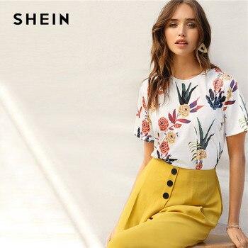 f80554f63e87 SHEIN женские рубашки с цветочным принтом и растениями Летние Повседневные  базовые ...