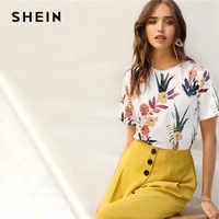 Shein floral e plantas imprimir camisas das mulheres verão manga curta casual básico streetwear pullovers branco t camisa topos