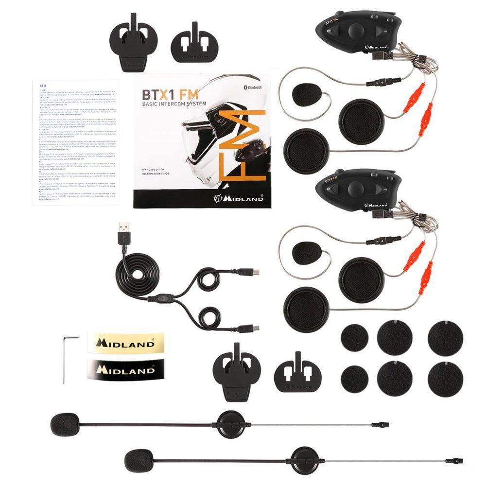 Black Durable MIDLAND BTX1 Motorcycle Helmet Headset Intercom Hands-free Interphone FM Rider-to-Passanger Intercom