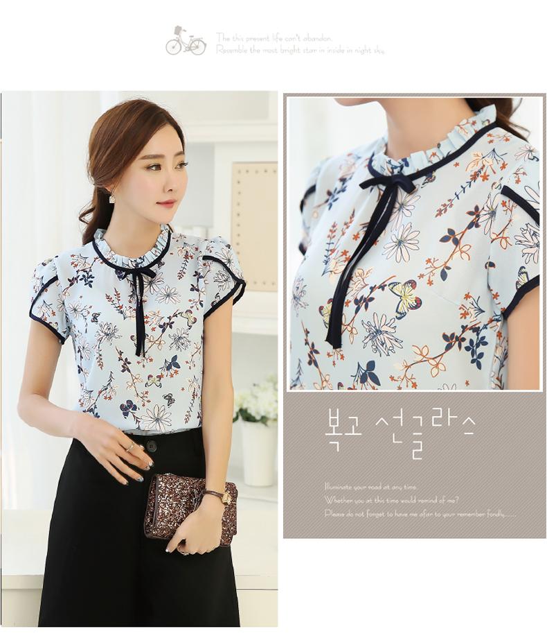HTB1A1e7PVXXXXXiXXXXq6xXFXXXg - Summer Floral Print Chiffon Blouse Ruffled Collar Bow Neck Shirt