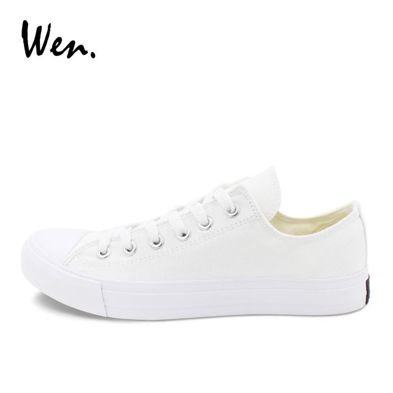 Wen Canvas Shoes Muškarci Tenisice Niska Vrh Solid Bijela Casual - Muške cipele - Foto 3