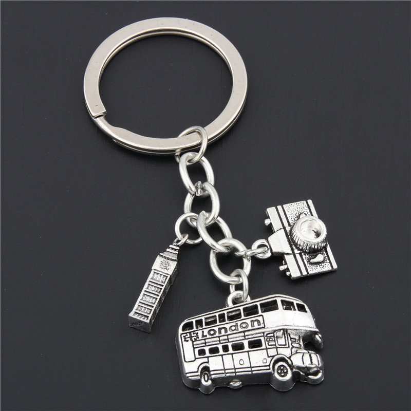 1pc London Keychain Big Ben Key Ring London Bus Charms With Camera England Gift For Traveler E1635